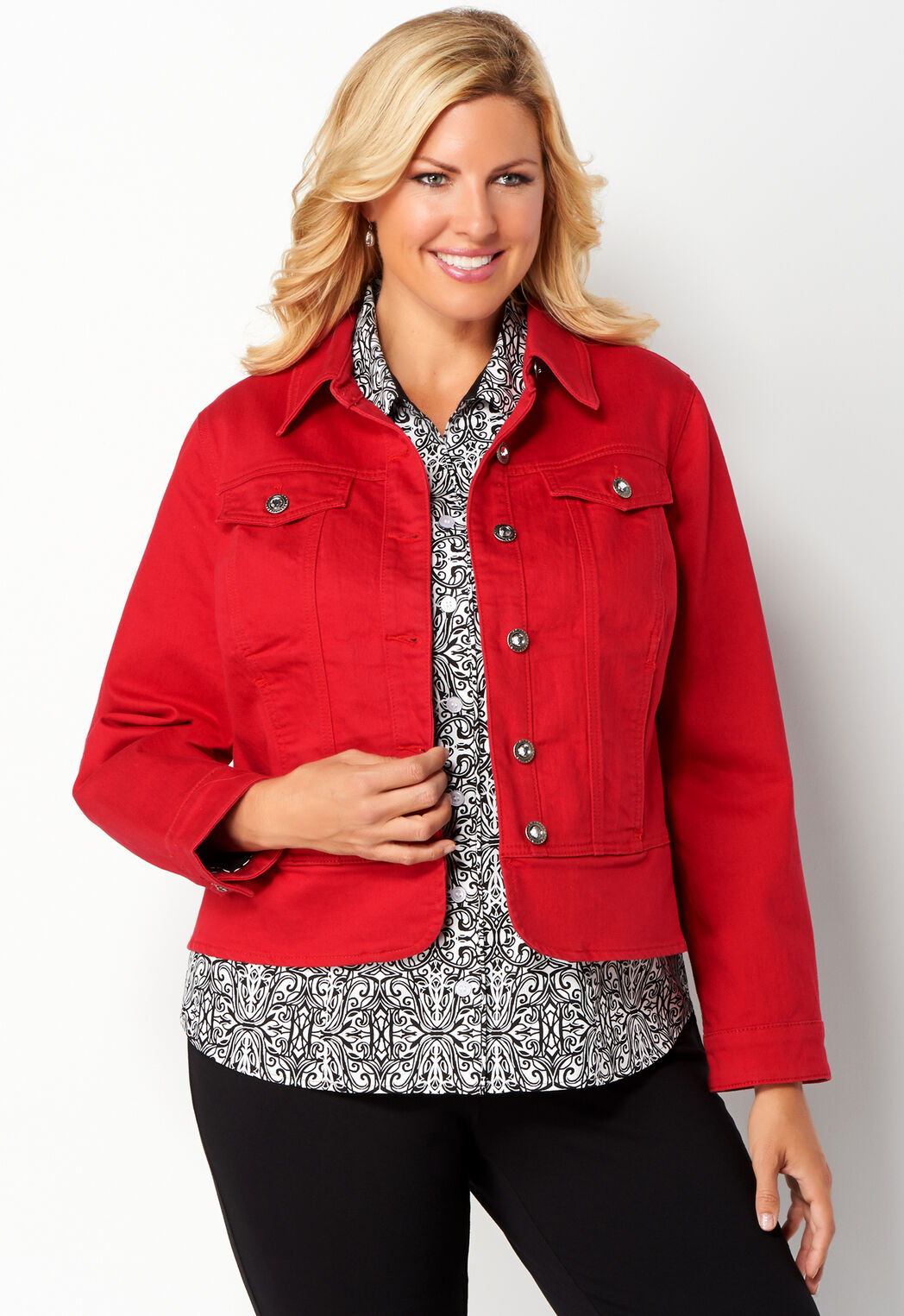 Women's Plus Sized Red Denim Jacket from Christopher & Banks® | CJ ...