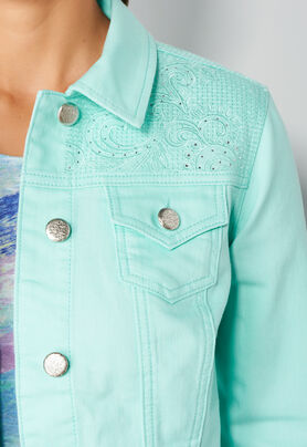 Women's Yoke Embroidered Colored Denim Jacket from Christopher ...