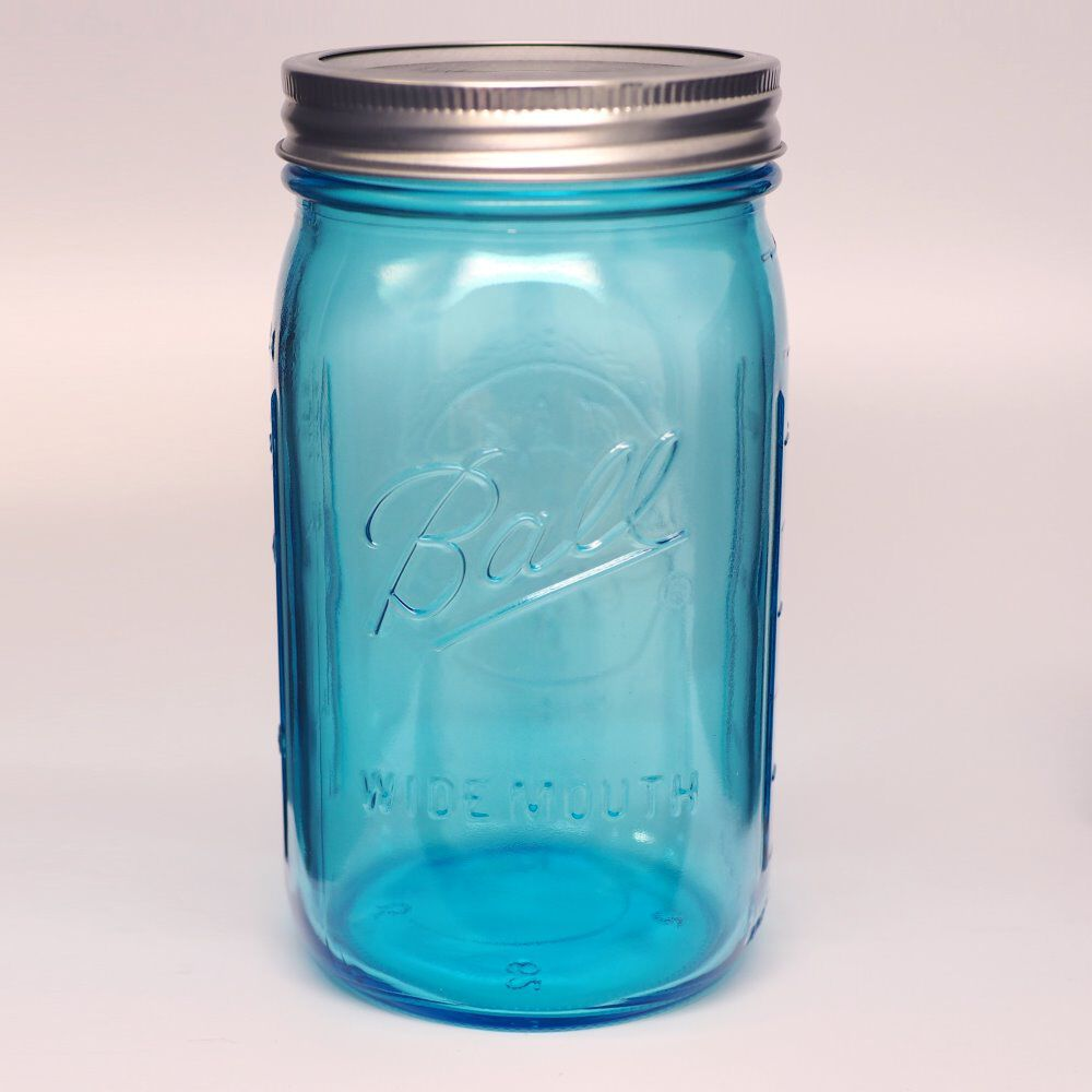 ball collection elite wide mouth quart 32 oz blue glass mason jars with