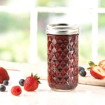 Ball® Quilted Crystal® Regular Mouth 12 oz. Glass Mason Jars with lids and bands, 12 count