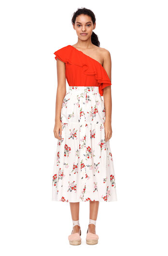 One-Shoulder Silk Top - Candy Apple