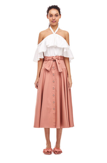 Cotton Belted Skirt - Nude Glow