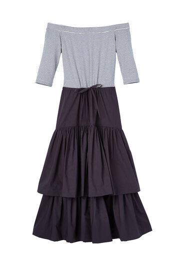 La Vie Off-The-Shoulder Rib Jersey & Poplin Dress
