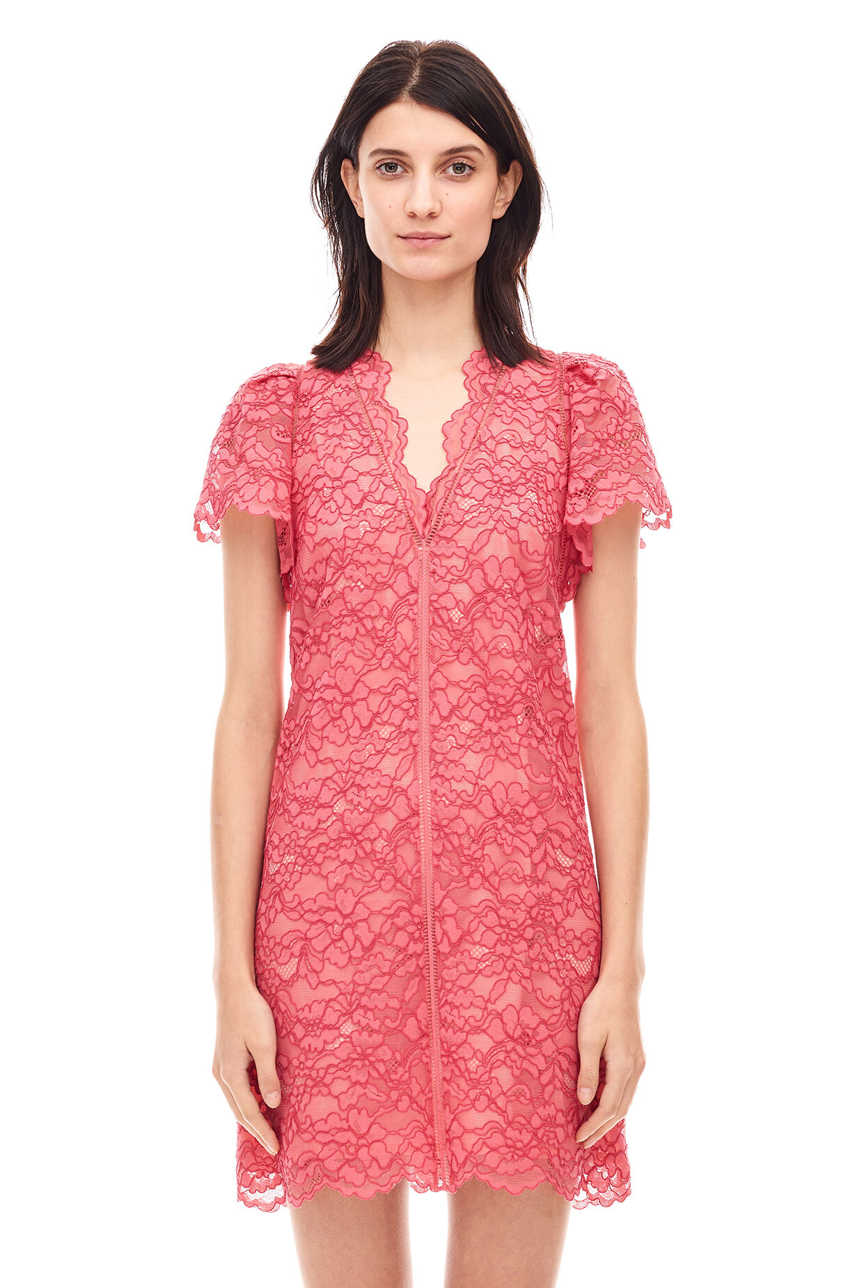 Rebecca taylor metallic lace dress
