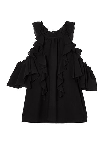 Open-Shoulder Silk Top